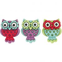 Novelty Buttons, retro owls, H: 25 mm, W: 20 mm, 3 pc/ 1 pack