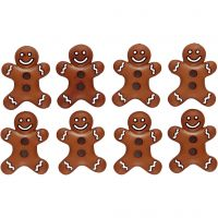 Novelty Buttons, iced cookies, H: 23 mm, W: 17 mm, 8 pc/ 1 pack