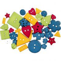 Shape Buttons, D: 8-18 mm, hole size 2 mm, bold colours, 37 pc/ 1 pack