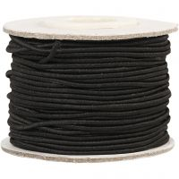 Elastic Beading Cord, thickness 1 mm, black, 25 m/ 1 roll