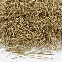 Straight Pins, L: 18 mm, thickness 0,6 mm, gold, 500 g/ 1 pack