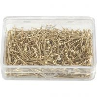 Straight Pins, L: 16 mm, thickness 0,65 mm, gold, 25 g/ 1 pack