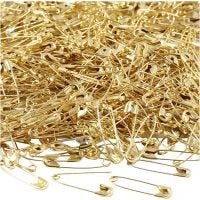 Safety Pins, L: 22 mm, thickness 0,6 mm, gold, 500 pc/ 1 pack