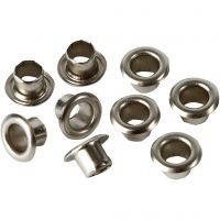 Eyelets, H: 4,5 mm, D: 7,5 mm, hole size 4 mm, silver, 100 pc/ 1 pack