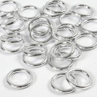 Plastic Ring, size 15 mm, thickness 2 mm, silver, 25 pc/ 1 pack