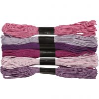 Embroidery Floss, thickness 1 mm, purple, 6 bundle/ 1 pack