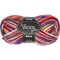 Sock Yarn, L: 200 m, blue/red harmony, 50 g/ 1 ball