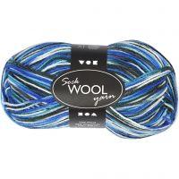 Sock Yarn, L: 200 m, blue/turkis harmony, 50 g/ 1 ball