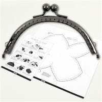 Purse Clasp Kit, size 10 cm, antique silver, 1 pc