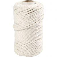 Macramé cord, L: 55 m, D: 4 mm, off-white, 330 g/ 1 roll
