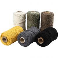 Macramé cord, L: 55 m, D: 4 mm, assorted colours, 6x330 g/ 1 pack