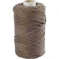 Macramé cord, L: 198 m, D: 2 mm, light brown, 330 g/ 1 roll