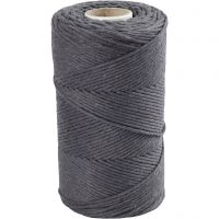 Macramé cord, L: 198 m, D: 2 mm, grey, 330 g/ 1 roll