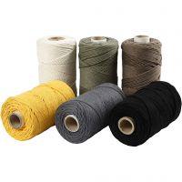 Macramé cord, L: 198 m, D: 2 mm, assorted colours, 6x330 g/ 1 pack