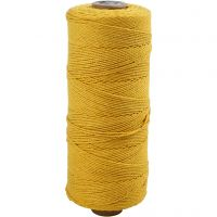 Cotton Twine, L: 320 m, thickness 1 mm, Thin quality 12/12, yellow, 220 g/ 1 ball
