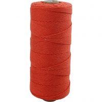 Cotton Twine, L: 315 m, thickness 1 mm, Thin quality 12/12, orange, 220 g/ 1 ball