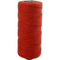 Cotton Twine, L: 315 m, thickness 1 mm, Thin quality 12/12, red, 220 g/ 1 ball