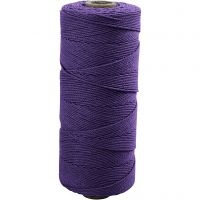 Cotton Twine, L: 315 m, thickness 1 mm, Thin quality 12/12, violet, 220 g/ 1 ball