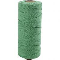 Cotton Twine, L: 315 m, thickness 1 mm, Thin quality 12/12, light green, 220 g/ 1 ball