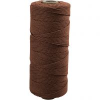 Cotton Twine, L: 315 m, thickness 1 mm, Thin quality 12/12, brown, 220 g/ 1 ball