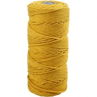 Cotton Twine, L: 100 m, thickness 2 mm, Thick quality 12/36, yellow, 225 g/ 1 ball