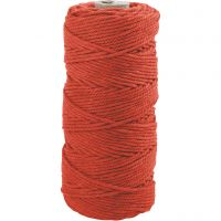 Cotton Twine, L: 100 m, thickness 2 mm, Thick quality 12/36, orange, 225 g/ 1 ball