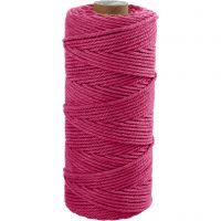 Cotton Twine, L: 100 m, thickness 2 mm, Thick quality 12/36, pink, 225 g/ 1 ball