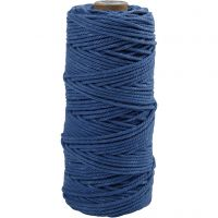 Cotton Twine, L: 100 m, thickness 2 mm, Thick quality 12/36, blue, 225 g/ 1 ball