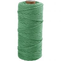 Cotton Twine, L: 100 m, thickness 2 mm, Thick quality 12/36, light green, 225 g/ 1 ball