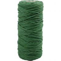 Cotton Twine, L: 100 m, thickness 2 mm, Thick quality 12/36, green, 225 g/ 1 ball