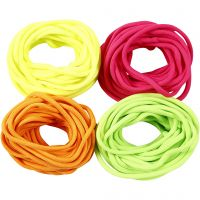 Polyester Cord, thickness 4 mm, neon colours, 4x5 m/ 1 pack