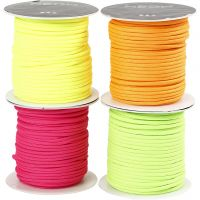 Polyester Cord, thickness 4 mm, neon colours, 4x40 m/ 1 pack