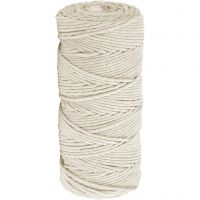 Cotton Twine, L: 100 m, thickness 2 mm, Thick quality 12/36, light natural, 225 g/ 1 ball