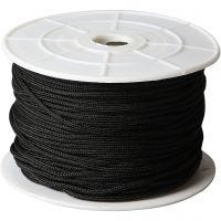 Polyester Cord, thickness 2 mm, black, 50 m/ 1 roll