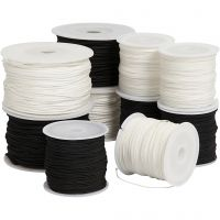 Polyester Cord, thickness 1-2 mm, Content may vary , black, brown/white, white, 10x50 m/ 1 pack