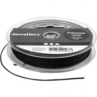 Polyester Cord, thickness 1 mm, black, 50 m/ 1 roll