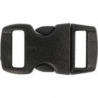 Click Clasp, L: 29 mm, W: 15 mm, hole size 3x11 mm, black, 4 pc/ 1 pack