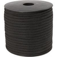Polyester Cord, W: 5 mm, black, 50 m/ 1 roll
