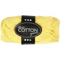 Mercerized Cotton Yarn, no. 6S/4, L: 165 m, yellow, 50 g/ 1 ball
