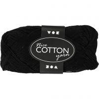 Mercerized Cotton Yarn, no. 6S/4, L: 165 m, black, 50 g/ 1 ball