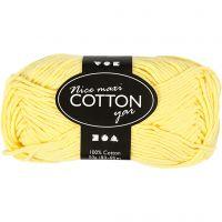 Cotton Yarn, no. 8/8, L: 80-85 m, size maxi , yellow, 50 g/ 1 ball