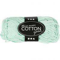 Cotton Yarn, no. 8/8, L: 80-85 m, size maxi , light green, 50 g/ 1 ball