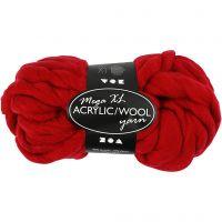 Chunky yarn of acrylic/wool, L: 15 m, size mega , dark red, 300 g/ 1 ball