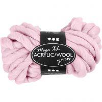 Chunky yarn of acrylic/wool, L: 15 m, size mega , rose, 300 g/ 1 ball