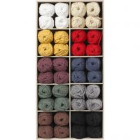 Cotton tube yarn, L: 45 m, assorted colours, 100 ball/ 1 pack