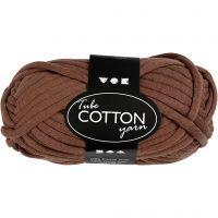 Cotton tube yarn, L: 45 m, brown, 100 g/ 1 ball