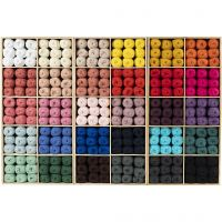 Cotton Yarn, no. 8/4, L: 170 m, assorted colours, 300 ball/ 1 pack