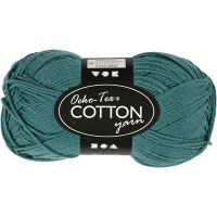 Cotton Yarn, no. 8/4, L: 170 m, petrol, 50 g/ 1 ball