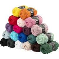 Cotton Yarn, no. 8/4, L: 170 m, Content may vary , assorted colours, 20x50 g/ 1 pack