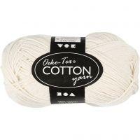 Cotton Yarn, no. 8/4, L: 170 m, off-white, 50 g/ 1 ball